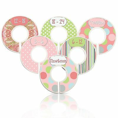 Assembled Custom Baby Girl Nursery Closet Dividers Coral Lime, Grey Baby Clothes