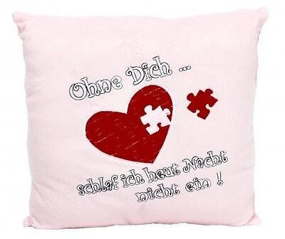 "Plush Pillow ""Without Dich"" 34 x 34 cm"
