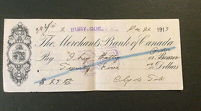 Antique Check 1913 Sherbrooke Quebec The Merchant Bank of Canada