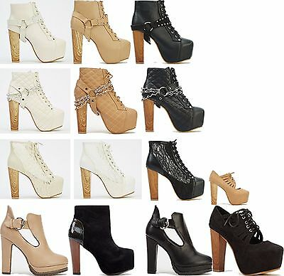 a4f40287ed3 Womens ladies wooden block high heel platform lace up zip party ankle boots  size
