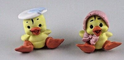 Figurines George Good Taiwan Easter Spring Baby Chicks Duck Bonnets 1.5-1.75 VTG