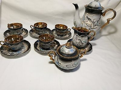 VTG Japanese Handcrafted dragon &Japese stuffs Eggshell Porcelain tea set 14pcs