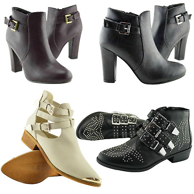 Ladies Womens Chelsea Gold Buckle Ankle Boots Cut Out Casual Flat Shoes Size
