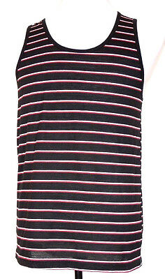 Vans Off The Wall  Black & White/Red Striped Poly/Cotton Tank Top M