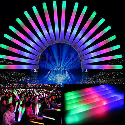 60 pcs Colorful Light-Up Foam Sticks Glow Sticks Cheer Tube Baton Wand For Party