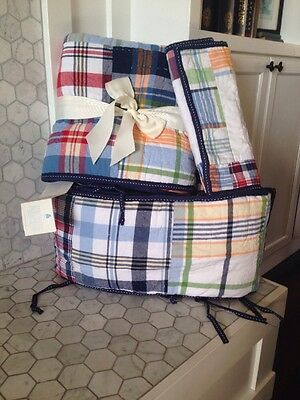 New Pottery Barn Kids Madras Plaid Nursery Crib Toddler Quilt Sham Per Set