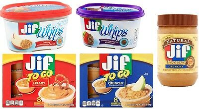 JIF Flavored Peanut Butter Spread Creamy Crunchy Whipped Flavored Free Shipping