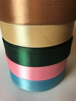 FULL REEL SATIN RIBBON  25 YARDS -2cm width PINK BLUE CREAM  GREEN FAVOUR