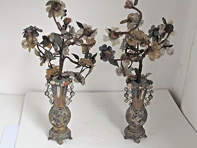 ANTIQUE PAIR FRENCH CHAMPLEVE ENAMEL BRONZE VASES with Beaded and Stone Flowers