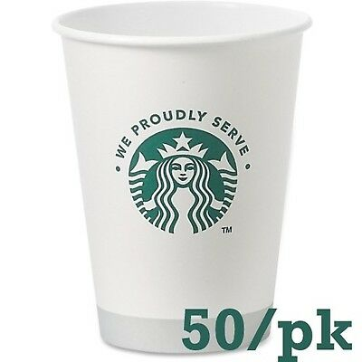 Starbucks White Disposable Hot Paper Cup 12 Ounce 50 Pack NEW