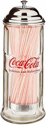 TableCraft's CC322 Coca-Cola Glass Straw Dispenser with Metal Lid NEW