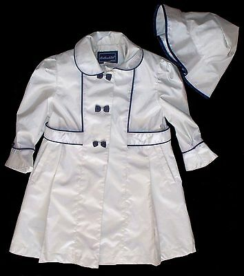 ROTHSCHILD Sz 2T  Girl's Coat & Hat White Navy Polyester Raincoat Spring Easter