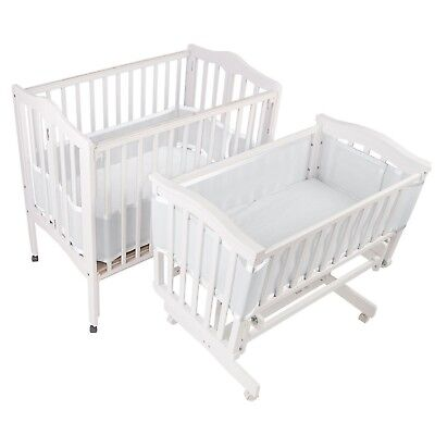 BreathableBaby Mesh Crib Liner for Portable and Cradle Cribs White NEW