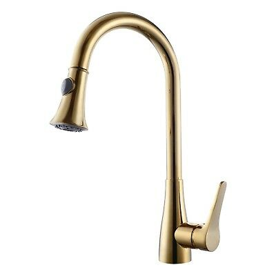 KES Brass Singel Handle Pull Down Kitchen Faucet with Retractable Pull Out Wa...