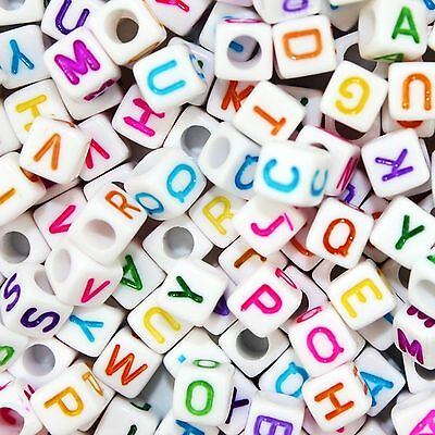 ** FREE SHIPPING ** 250 x Alphabet Letter Cube Beads, 6mm, White, Mixed Colours