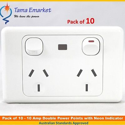 10 x 10 Amp Double Power Point with Neon Indicator GPO Socket Electrical Outlet