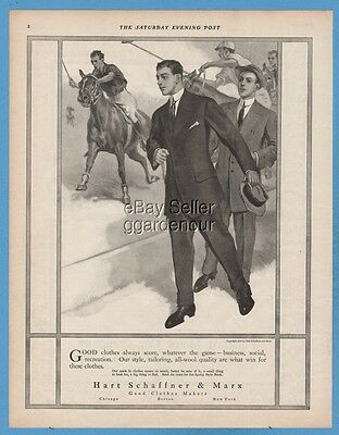 1909 Hart Schaffner & Marx men's clothes POLO theme horses players fashion ad
