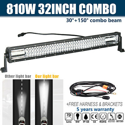 7D+ CREE 32INCH 810W Led Spot Flood COMBO Work Light Offroad 4WD Truck SUV BAR