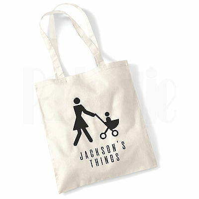 Personalised Baby Changing Nappy Cotton Canvas Tote Bag- 'Mummy & Pram'