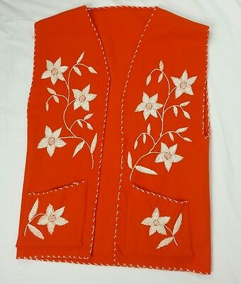 Vintage Vest Small Orange Wool Embroidery Retro 70s Handmade Floral Gypsy Hippy