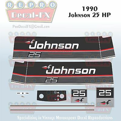1980 Johnson 25 HP Sea-Horse Outboard Reproduction 13 Pc Marine Vinyl Decals