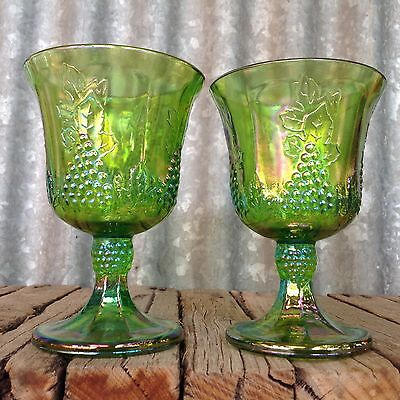 VINTAGE Indiana Glass USA GREEN CARNIVAL GLASS GOBLETS Grapevine