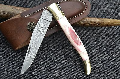 "HUNTEX Handmade Damascus 4.7"" Pen French Laguiole Hunting Folding Pocket Knife"