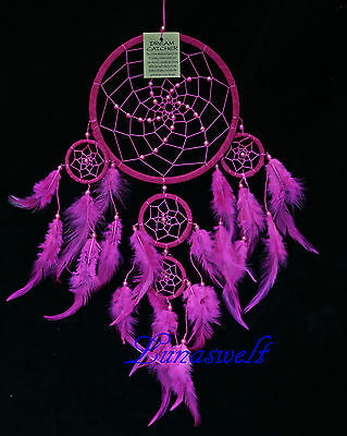 Indianer Traumfänger DreamcatcherTon in Ton Rosa 16 cm