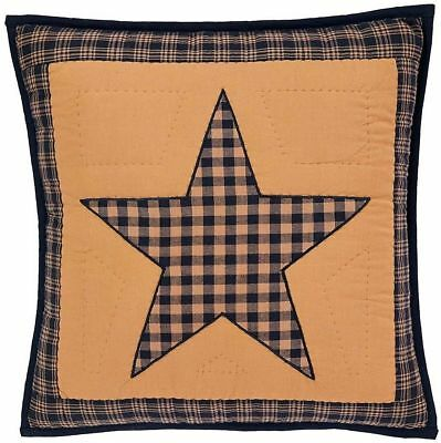 """Teton Star Throw Pillow Hand Quilted Navy Country Patchwork 16"""" Square w/ Insert"""