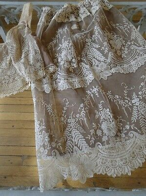 Antique Brussels Lace  Bodice And Skirt