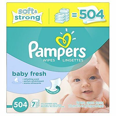 Baby Pampers Softcare Wiper Infant Fresh Absorb Soft Clean Diapering 504 Count