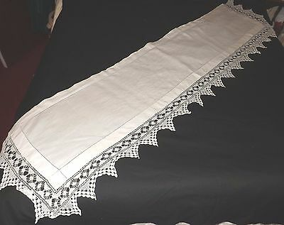 """LONG CROCHET LACE TABLE RUNNER - WHITE - 68"""" by 18"""""""