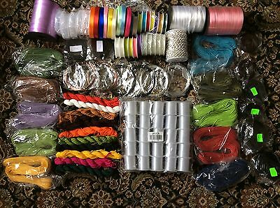 Large Job Lot Jewellery Wire, Cord, Ribbon, Silver Plate Chain And More