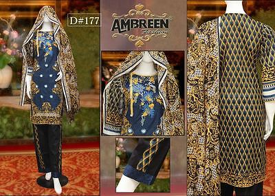 Indian/Pakistani Embroidered 3PC Lawn/Cotton Kurti/Kurta+Salwar with Lawn Dupata