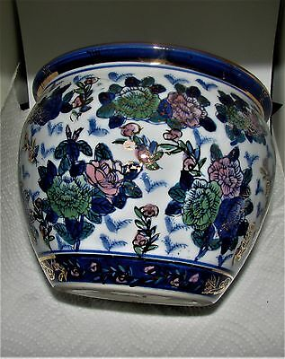 Vintage Chinese Porcelain flowers hand painted with gold Bowl Planter