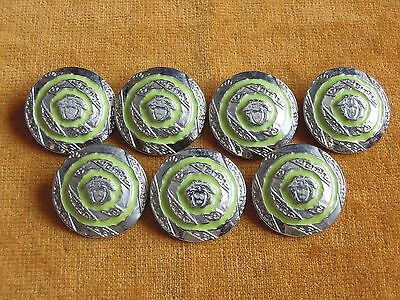 Set of 7 VERSACE MEDUSA Silver/Green Color Metal Retro Buttons 25mm #103