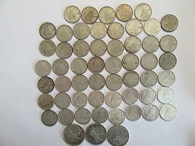 Lot of 56 Canada Silver Coins, 53 dimes + 3 Qtrs, dated btwn 1938 & 1964