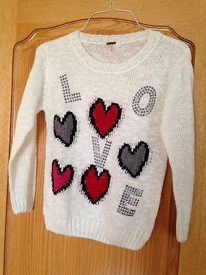 Poof! Girls' Love & Hearts Tunic Sweater Vanilla Ice Size X Large NEW Imported