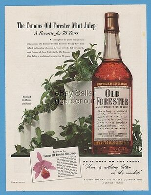 1948 Old Forester Whisky Brown Forman Louisville KY Mint Julep Recipe ad