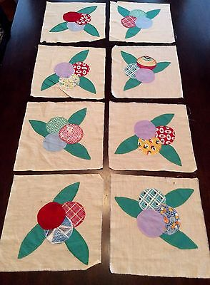 VTG Lot 8 Patchwork Quilt Squares Calico & Solids Embroidered Leaves/Circles 47