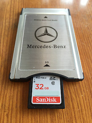 PCMCIA TO SD PC CARD ADAPTER +32GB SDHC Memory card  for Mercedes-Benz S class