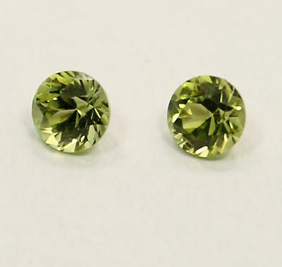 Fabulous Pair Of Round Brilliant Cut Peridot  1.15 Carat