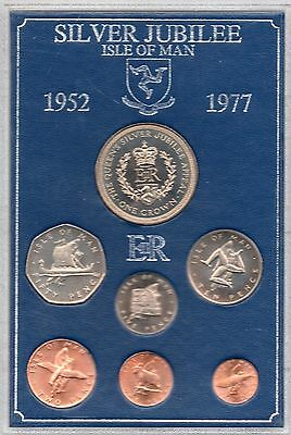 1977 Isle Of Man Coin Set  - 7 Coins - Commemorating The Queen's Silver Jubilee