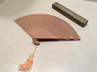 Vintage wooden fancy hand fan in box