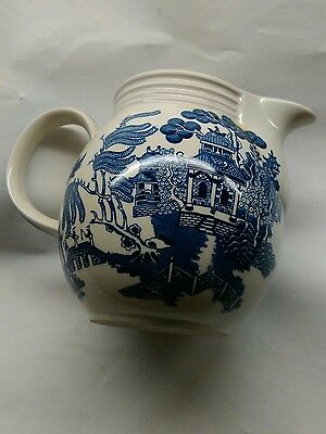 Vintage church blue & white willow  Creamer jug made in Staffordshire England