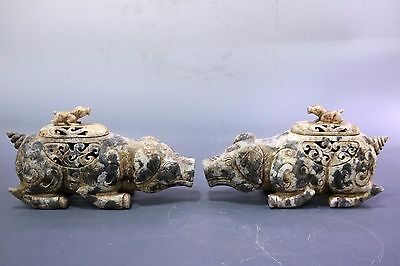 Fine Rare Beautiful Chinese A Pair Jade Pigs Statue