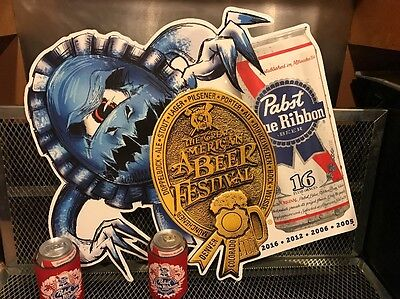 PABST BLUE RIBBON PBR Beer GABF GOLD Medal Monster Art Advertising Sign + BONUS