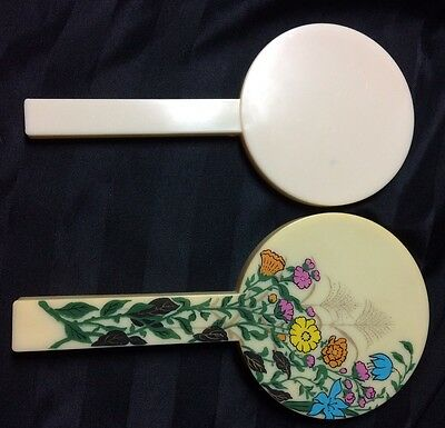 Vintage Cream Blue Pink Floral Hand Held Double Mirrors Made In Hong Kong