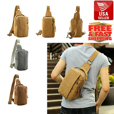 Men Backpack Canvas Tactical Sling Chest Bag Assault Pack Messenger Shoulder M3