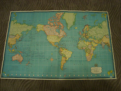 VTG Large Hammonds USA  world wall map color. With Ship and Air Routes.  Poster